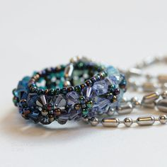 Blue amd Purple Swarovski Little Rosco Pendant by SarahRobinL, $24.00