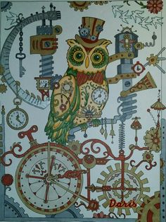 adultcoloring prismacolors pastels creativehaven owls