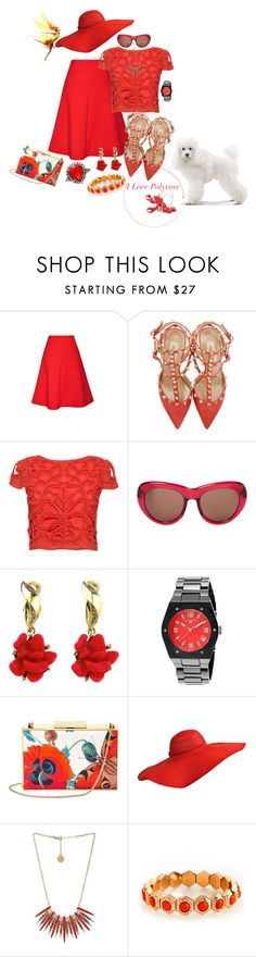"""Red Surprises"" by blujay1126 ❤ liked on Polyvore featuring Osman, Valentino, Alice + Olivia, Dries Van Noten, Oscar de la Renta, Swiss Legend, Aspinal of London, Jessica Simpson and Henri Bendel"