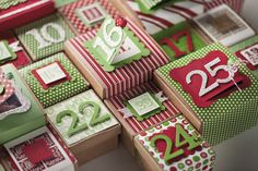Advent calendar boxes using Peekaboo Frames.