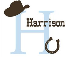 Country Western Decal Large Cowboy Vinyl Wall Decal Personalized Boy Nursery Bedroom Housewares