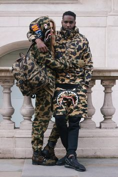 bape is highly sought after and is hard to get ahold of due to pricing and the amount of replicas on the market. Bape Outfits, Fashion Outfits, Fashion Trends, Hypebeast Outfit, Urban Fashion, Mens Fashion, Style Masculin, A Bathing Ape, Couple Outfits