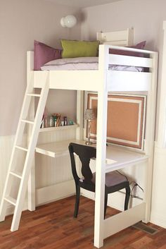 What an interesting way to add reading space - a lofted reading nook. Having a light is very practical and adding front facing bookshelves would be cool too.  As is, it is a great space for doing homework
