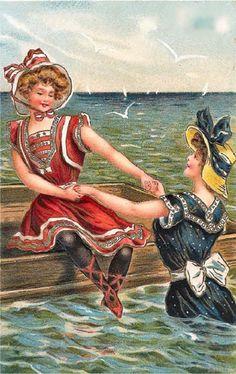 Divided Back Postcard Atlantic City - Bathing Beauties Swimsuits & Pinup Images Vintage, Vintage Artwork, Vintage Pictures, Vintage Prints, Vintage Greeting Cards, Vintage Ephemera, Bathing Costumes, Bath Girls, Vintage Swimsuits