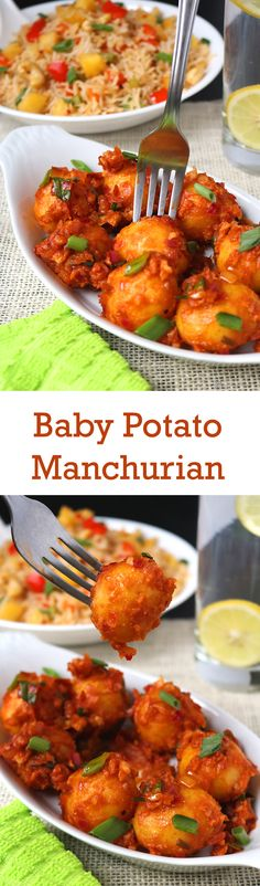 Baby Potato Manchurian - A super easy and extremely flavorful Asian inspired Appetizer. Perfectly spicy, tangy and a hint of sweetness. Indian Snacks, Indian Food Recipes, Indian Appetizers, Ethnic Recipes, Potato Recipes, Potato Dishes, Veg Recipes, Recipies, Healthy Recipes