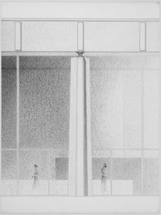 Ludwig Mies van der Rohe. Ron Bacardi y Compania, S.A., Administration Building, project, Santiago, Cuba, Elevation of column with roof and glass wall, final version. c. 1957-58
