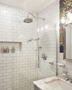 glassed-in shower stall