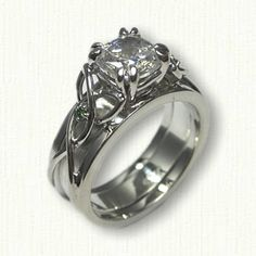 Celtic Open Wire Vanessa Reverse Cradle - set with customers diamonds and (2) side green diamonds in the knot work