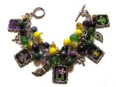 Mardi Gras Altered Art Charm Bracelet Green Purple Yellow Handmade Jewelry