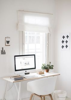 white and wood #workspace: decor organization home office