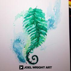 Watercolor fern tattoo~ represents shelter, fascination, confidence, magic