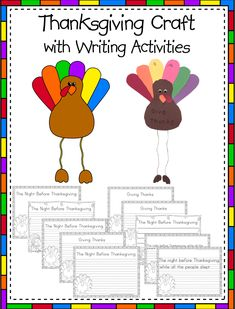 A Thanksgiving Turkey Craft with Writing Activities that your students will be excited to hang along with their stories. Great activities for Center/Stations, bulletin boards, or hallways. Thanksgiving Writing, Thanksgiving Crafts, Turkey Pattern, Teacher Helper, Turkey Craft, Autumn Theme, Writing Activities, Special Education, Language Arts