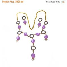 ON SALE Oval Lavender Beads, Lariat Style, Recycled Watch Parts,... (3.690 ISK) via Polyvore featuring jewelry, necklaces, vintage long necklace, bib necklaces, pendant necklace, party bead necklaces and vintage bead necklace