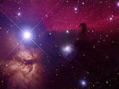 La nebulosa Testa di cavallo (a destra nella foto) è forse la più famosa icona del cielo sopra di noi. - The Horsehead Nebula (pictured right) is perhaps the most famous icon of the sky above us.