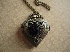 Heart Shaped Locket Watch With Black Rose by SecretsEmbracd, $22.50