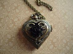 Heart Shaped Locket Watch With Black Rose by SecretsEmbracd, $22.50