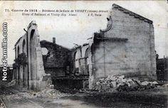 Guerre de 1914 - Bâtiment de la Gare de VIERZY (Aisne) détruit