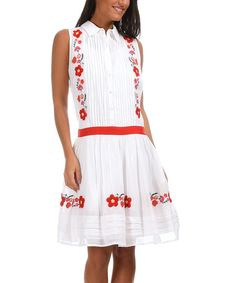 Look what I found on #zulily! White & Red Embroidered Floral Shirt Dress by Peace and Love #zulilyfinds