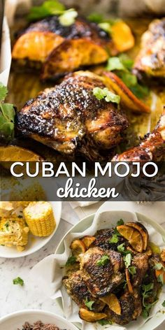 Cuban Mojo Chicken – Spend With Pennies This Cuban Mojo Chicken has been marinated in a wicked Cuban Mojo marinade and roasted to juicy perfection. Try this zesty, garlicky Cuban chicken for dinner tonight! Mojo Chicken, Cuban Chicken, Chicken Chorizo, Pollo Tropical Chicken Recipe, Roasted Chicken, Comida Latina, Turkey Recipes, Mexican Food Recipes, Sauces