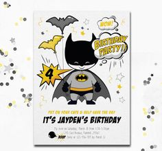 Batman invitation cute Batman Batman invite Batman by MotifVisuals