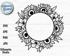 Monogram Wreath, Circle Monogram, Monogram Frame, Cricut Vinyl, Svg Files For Cricut, Flower Frame, Flower Svg, Frame Clipart, Winter Wreaths