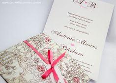 Convite casamento rosa e marrom - Galeria de Convites