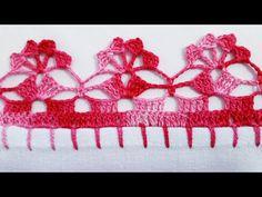 Bico em crochê simples e fácil de fazer - YouTube Crochet Edging Tutorial, Crochet Border Patterns, Zig Zag Crochet, Crochet Boarders, Embroidery Stitches Tutorial, Crochet Lace Edging, Filet Crochet, Crochet Flowers, Crochet Baby