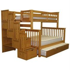 Stairway Bunk Bed Twin Over Full In Honey With 4 Drawers Built In To The Steps…