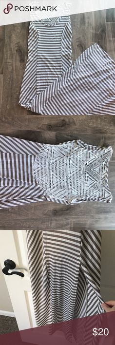 NWOT- Gray and white stripped Maxi dress Fun and flirty maxi dress by Finn&Clover. Never been worn. Gray and white stripes with pleats down the side for a slimming fit. Slit on front of dress that goes up to mid thigh. The backside of this dress has a white lace/crochet look that hits at the small of your back. Size XS. 96%polyester 4% spandex. This dress does have stretch to it. Finn & clover Dresses Maxi