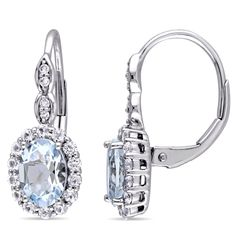 Miadora 14k White Gold Oval-cut Aquamarine, White Topaz and Diamond Accent Halo Leverback Drop Earrings, Blue