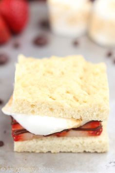 Skinny Strawberry Shortcake S'mores -- sweet & buttery, but they don't taste healthy at all! You'll never need another shortcake recipe!