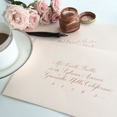 It was another day filled with lots of envelopes & lots of coffee around here, but these rose gold on blush beauties are making their way back to @frannybeedesigns in CA tomorrow!! ✒️☕️ {our favorite rose gold ink is in stock at lhcalligraphy.com/shop!} #wedding #envelope #calligraphy #fakeaddress