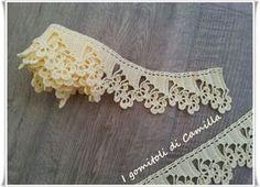 Bordura trifogli all' uncinetto Modern Crochet, Crochet Art, Crochet Home, Crochet Motif, Crochet Doilies, Crochet Stitches, Irish Crochet Patterns, Crochet Symbols, Crochet Borders