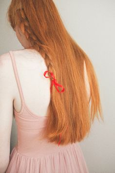 simple braid tied with a ribbon