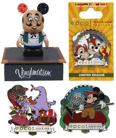 2012 Food and Wine Festival Merchandise includes great Figment, and Mickey-in-a-BOG pins!!