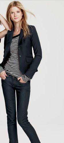 blazer + skinny jeans via j crew