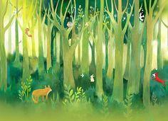 Forest Fantasy kinderkamer behang Baby kamer muur door DreamyWall
