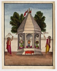 British Museum Painting - Jagannath trinity with attendants with caption in…