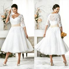 Tea-length plus-size wedding dress