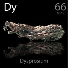 66 Dysprosium -Dy- its highly susceptible to magnetization, it is employed in various data storage applications, such as in hard disks. Dysprosium powder may present an explosion hazard when mixed with air and when an ignition source is present. Thin foils of the substance can also be ignited by sparks or by static electricity. Dysprosium fires can't be put out by water.
