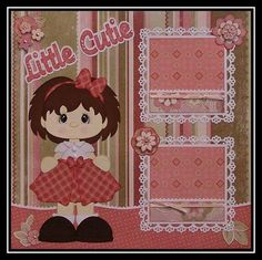 """""""Little Cutie"""" Girl Premade Scrapbook Pages Paper Piecing by Shelly"""