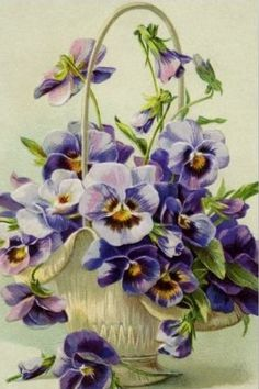 Vintage Postcard :: Pansies, violet, white porcelain vase with tall looped handle Victorian Flowers, Vintage Flowers, Vintage Floral, Vintage Design, Vintage Cards, Vintage Postcards, Vintage Images, Vintage Clip, Art Floral