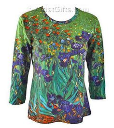Van Gogh Irises art top with free U.S. shipping. This pretty art shirt is one of our many gifts for artist and art lovers!