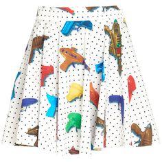 Jeremy Scott Water Gun Skirt (55.155 HUF) ❤ liked on Polyvore featuring skirts, mini skirt, cotton mini skirt, white pleated skirt, cotton pleated skirt and dot skirt
