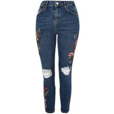 Topshop Petite Embroidered Jamie Jeans ($77) ❤ liked on Polyvore featuring jeans, bottoms, topshop, mid stone, topshop jeans, embroidery jeans, skinny jeans, topshop skinny jeans and skinny fit jeans