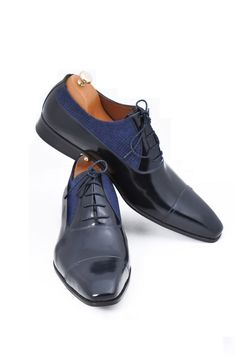 8e6d4538826 Handmade Navy Blue Leather Gray Fabric Men Shoes by UstabasShoes