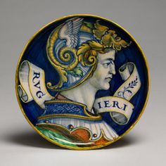 Second of a pair of Italian maiolica low-footed bowls with busts of Ruggieri and Filomena (Italy; Urbino or Castel Durante) c1520 (Metropolitan Museum of Art)