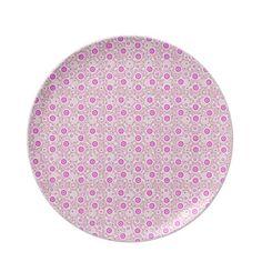 Cute pink circles overlay design dinner plate $24.95