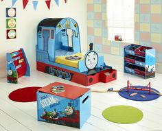 Thomas The Tank Engine Bedroom Furniture Fantastic Feature Toddler Bed Plus Toy Boxes Storage