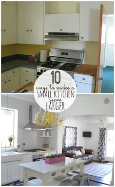 10 ways to add modern charm to a cottage kitchen remodel at Tatertots and Jello. This kitchen remodel is amazing. Kitchen Redo, Kitchen Remodel, Kitchen Dining, Kitchen Ideas, Kitchen White, Open Kitchen, Kitchen Layout, Cottage Kitchens, Home Kitchens